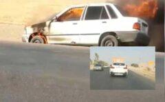 آتشسوزی یک پراید و رفتار متفاوت راننده BMW