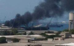 انفجار یک کشتی تجاری در لاذقیه سوریه